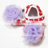 Baby Red White Polka Dots Crib Shoes with Light Purple Rosettes