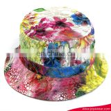 Factory New Fashion Women Girl Flower Floral Bucket hat Bling glitter Boonie cap Pastel drawing Soft material