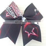 No minimun cheer bow strip rhinestone transfer customized logo and color cheerleading bows for girls