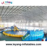 14x5x6.5m Wet Slide Park, Outdoor giant inflatable slide with big pool , backyard water slide