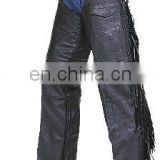 HMB-327A MEN LEATHER CHAPS BRAIDED FRINGES STYLE CHAP BLACK