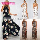 Stylish Hanging Neck Design Sexy Bandage Dress Floral Maxi Women Summer Dress For Sleeveless