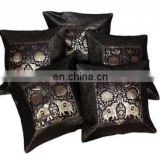 Handmade Silk Cushion Cover Banarasi Brocade Work Elephant Design Rajasthani Art Pillow Cover Pillow Case Throw wholesale Black