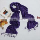 100% crinkle dark purple paj silk scarf