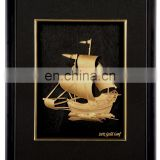 Vintage nautical gold stereograph ship fashion designed plated pure 24K gold foil in wood frame