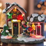led light Family Play Snowman Polyresin Christmas House Decoration