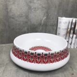 Good sale new red color luxury round shape countertop ceramic wash hand basin