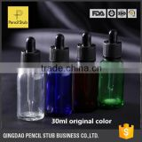 wholesale clear/blue/green/amber 30ml glass dropper bottles with childproof cap for e liquid