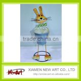 Metal rabbit stand up hold a barrel for home decor