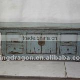 Chinese antique furniture pine wood blue four drawer two door cabinet