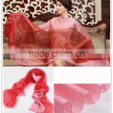 summer sunscreen scarf factory china magic bright colors silk with organza scarf,ladies' 100%pure silk scarves and shawls                                                                                                         Supplier's Choice