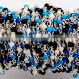 5 Feet Multi Mix Gemstone 2mm Smooth Rondelle Rosary Style Wire Wrapped Beaded Chain 925 Silver Plated Jewelry Making Be