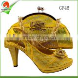 2016 china factory price lady matching hand bag and shoe set for wedding ankara shoes and purse with stone large stock