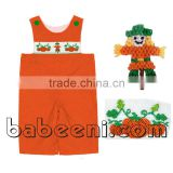 Thanksgiving hand smocked longalls for baby boys with scarecrow and pumpkin patterns