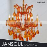 JANSOUL 7 lights orange color cystal chandelier