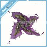 printed plant design polyester voile scarf