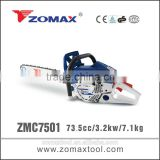 torque wrench 73.5cc ZMC7501 3.2kw china electric start gas chain saw with used fuel tank for sale