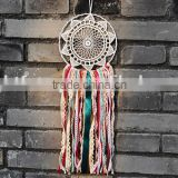 Geometric Large White Dream Catcher - Colour Fringe White Dream Catcher - Boho Wedding Decor - Bohemian Crochet Dream Catcher