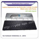 Latin layout Laptop Keyboard for HP PAVILION 15-E000 15-N000 with Frame black color