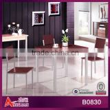 B0830 2013 new design 80*80*75 metal gray frame cassia siamea 1+4 simple modern wooden dining table and chairs