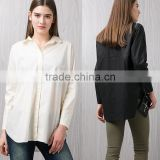 Women's Long Sleeve Plain Color Swallow Tail Blouse Plus Size Top Shirts Cotton Comfortable Office Lady shirt