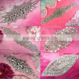 Bridal trimmings clear crystal rhinestone applique with pearls hotfix for wedding dress accessory