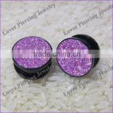 Fashion Glitter Design High Polish UV Acrylic Custom Flesh Tunnel Plug Jewelry [UV-RT450A]