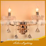 Modern Most Popular Top Quality 2 Lights Crystal Wall Lamp with Diamond Drops