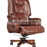 high quality leather rocker swivel recliner wooden office boss chair AB-318