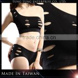 Two Piece Black Fancy One Shoulder New Design Sexy Bra And panty Set