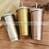 Heritage collection double wall stainless steel thermos tumbler travel mug/insulated vacuum water bottle with cover and straw