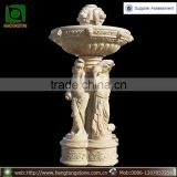 Antique style Egyptian cream marble water fountain with lady statues
