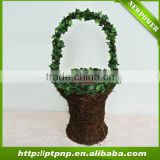 Factory Wholesale Handmade Decorative leaf rattan Flower Pot with handle