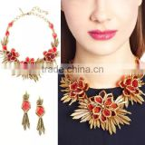 Luxury brass plated alloy choker necklace &earrings for women