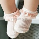 wholesale retail beautiful fancy rib ruffle knitted cheap infant baby socks