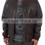 MEN BROWN Bomber style LEATHER JACKET