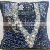 17'' Indian Embroidered Beaded Ethnic Vintage Hand Patchwork Throw Pillow cover Cushion Cover Cushion Covers cases decorative
