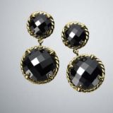Gold Plated 925 Silver Mini Black Onyx Chatelaine Earrings(E-035)
