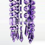 Purple crysal beaded garland wedding tree decoration strand chandelier bead strands