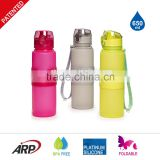 650ml/22oz 500ml/16oz 350ml/12oz 3 Different Lid Platinum Silicone With PP Grab BPA Free Foldable Water Bottle                                                                         Quality Choice