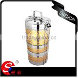 guangdong stainless steel tiffin lunch box/ 4 layers thermal metal food carrier/ hand pot