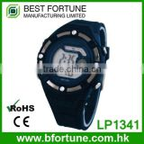 LP1341_BL Rubber Blue color Chrono Day Tech light pusher Multifunction digital watches for boys