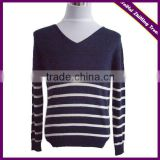 MEN FASHIONABLE V-NECK STRIPPED PULLOVER CASHMERE SWEATER