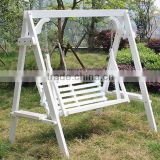 Kids Outdoor playground wooden garden swing in playground /white swing