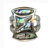 Vintage Abalone Resin Shell Rings Handmade Ring Jewelry Vintage Paua Shell And Silver Ring