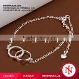 2014 wholesale double circle silver payal anklet jewelry A005