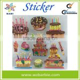 Birthday cake self adhesive 3D FOAM wall stickers /room decoration for kids