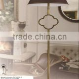 finely brushed brass floor standing lamp 60W with brown art fabric shade
