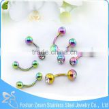 Titanium Rainbow Cz Embedded Balls Vibrating Eyebrow Ring