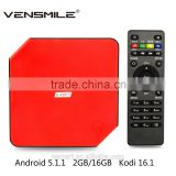 Vensmile M8S Plus Smart TV Box with 2GB 16GB Storage Kodi Streaming TV Box support Android 5.1 TV Box M8S Plus